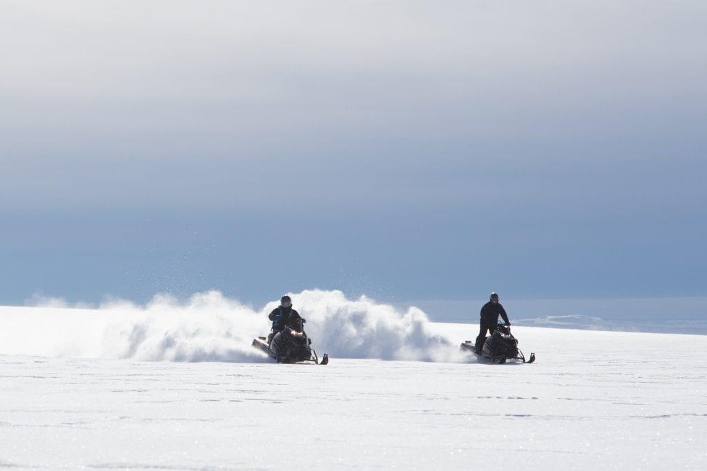Racing across the glacier